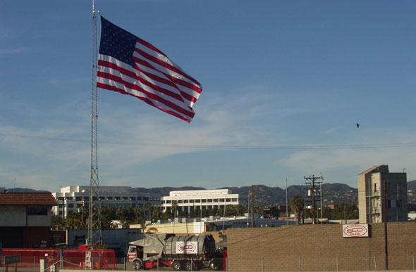 United States Flag flying over SCD